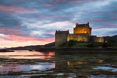 Castles Scottish Homes Castle Sunset Donan Eilean