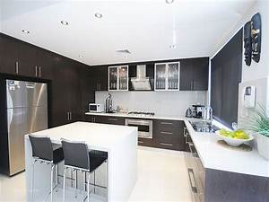 modern u shape kitchen with dark cabinet and white island With u shaped modern kitchen designs