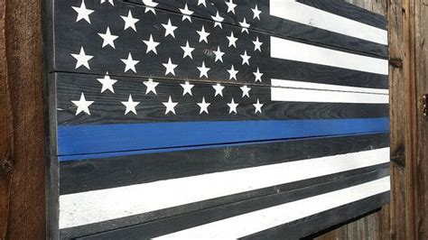 thin blue  american wood flag american flag wooden