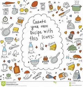 Le Cuisinier D'isolement Objecte La Nourriture Pour Des Recettes Illustration de Vecteur Image
