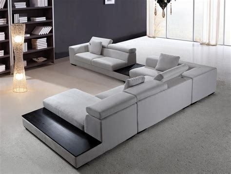 Wohnzimmer Sofa Modern by Forte Grey Microfiber Modern Sectional Sofas