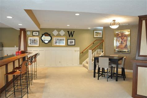 board  batten basement bar traditional family room