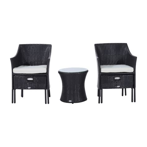 outsunny outdoor patio rattan wicker leisure chair set