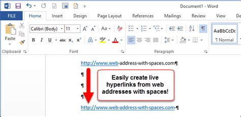 How Create Live Hyperlink From Web Address