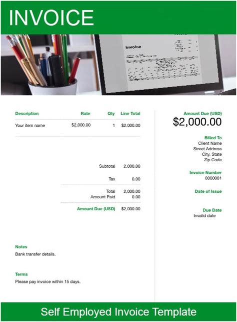 employed invoice template   send