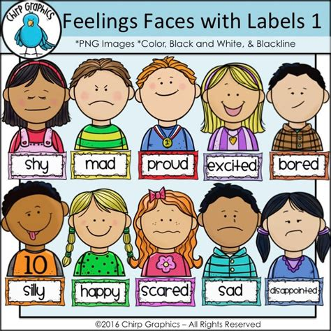 Feelings Clipart Emotions Clipart Childrens Faces Pencil And In Color