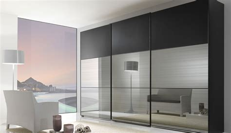 high white wooden sliding glass door with mirror on the