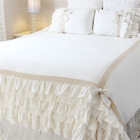 white ruffle comforter white bedding set