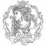 Zodiac Coloring Pages Adults Cancer Colouring Horoscope Adult Signs Astrology Sheets Printable Pisces Taurus Beauty Colour Colors Sign Designs Mandala sketch template