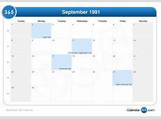 September 1991 Calendar