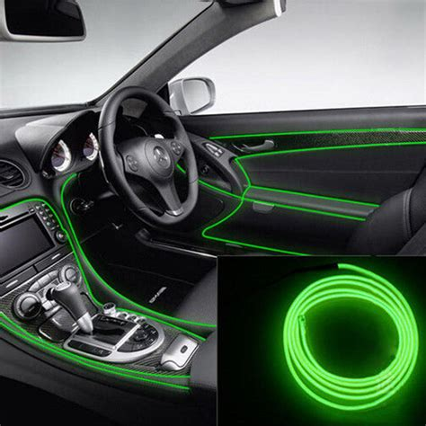 led lichtleiste 2m 2m gr 252 ne led neon el wire glow seil lichtleiste auto innenraum dekor new ebay