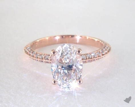 carat oval cut pave engagement ring   rose gold