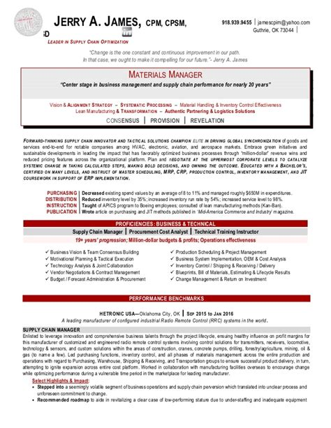 jerry supply chain manager resume
