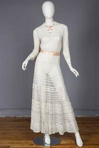 Antique Sheer Edwardian Net And Lace Tea Dress For Sale At
