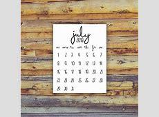 July 2018 Calendar Printable Instant Download Birth