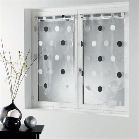 voilage noir et blanc paire de voilage h90 cm jacquard ronds gris noir voilage vitrage eminza