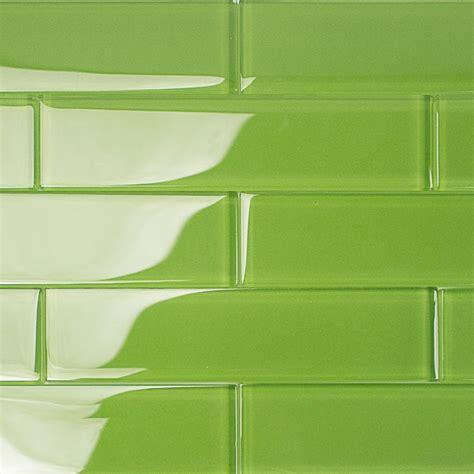 glass tile backsplash kitchen pictures shop for loft electric lime 2x8 polished glass tiles at