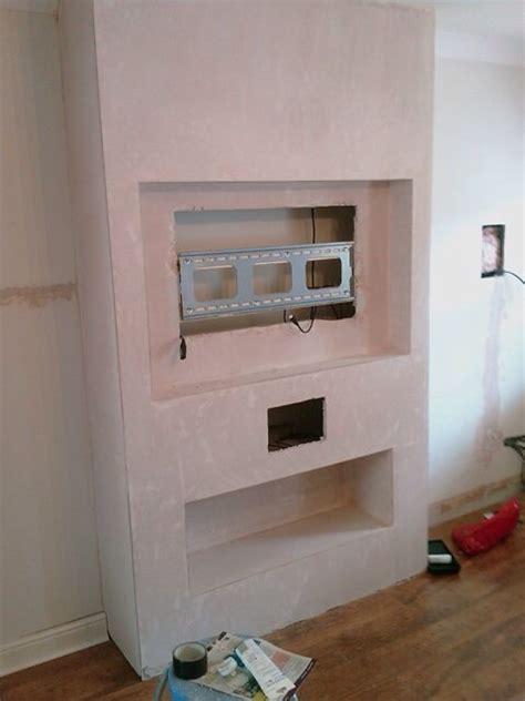 build false chimney  recessed tv   works