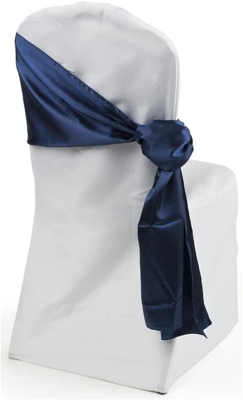 navy blue satin chair sashes wedding decor
