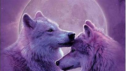 Wolf Wolves Moon Nature Animals Painting Purple