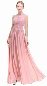 Blush One Shoulder With Beaded Prom Party Evening Gown ...