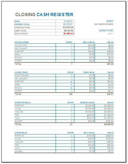 closing cash register template  ms excel excel templates