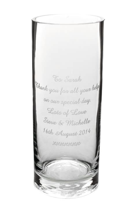 Wide Glass Vases by 30cm Wide Base Cylinder Glass Vase Personalised