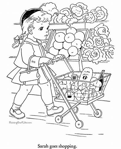 Coloring Pages Shopping Printable Sheets Grocery Books