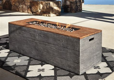 hatchlands gray rectangular fire pit table