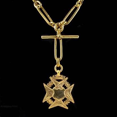 Maltese Edwardian Albert Chain Medallion Cross