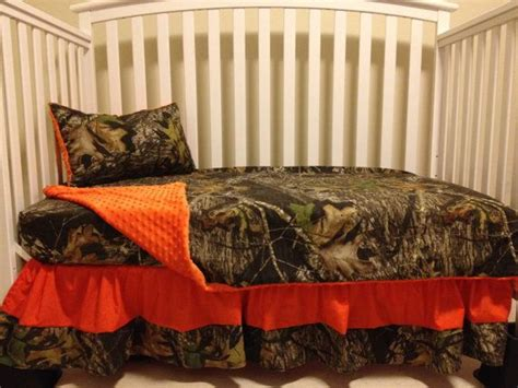 Mossy Oak Crib Bedding by Set Made With Mossy Oak Fabric And Orange Minky Dot Baby