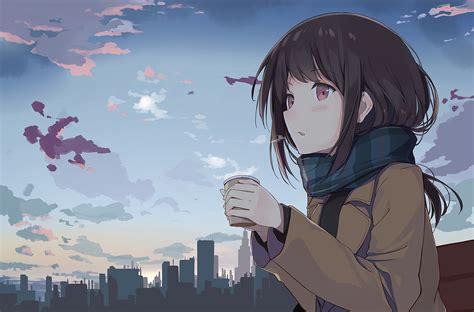 Anime Studying Wallpaper - anime holding tea outside hd anime 4k wallpapers
