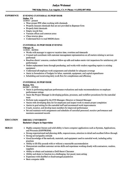 luxury sle resume janitorial supervisor sketch resume