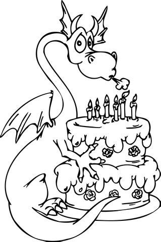 dragon  happy birthday cake coloring page
