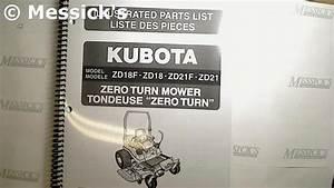 Kubota  Zd18  Zd21 Parts Manual  Part   97898