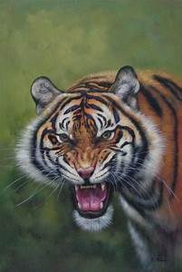 Framed Head of Ferocious Tiger With Open Mouth Oil ...