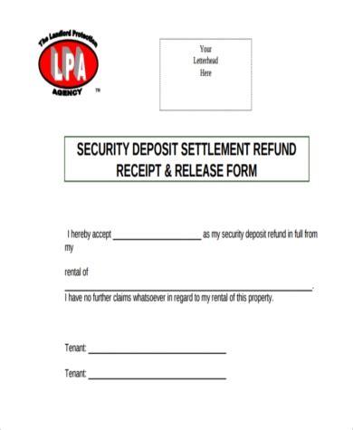 tenant security deposit refund form security deposit refund form sles 8 free documents