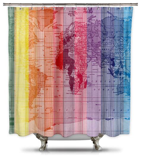 rainbow world map by catherine holcombe fabric shower