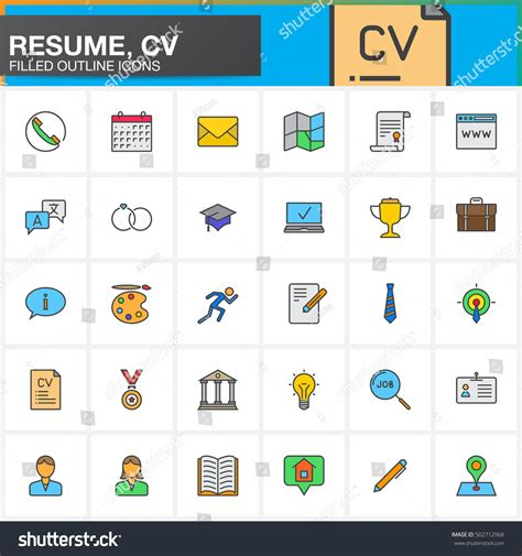 11916 resume icons vector line icons set resume cv filled stock vector 502712968