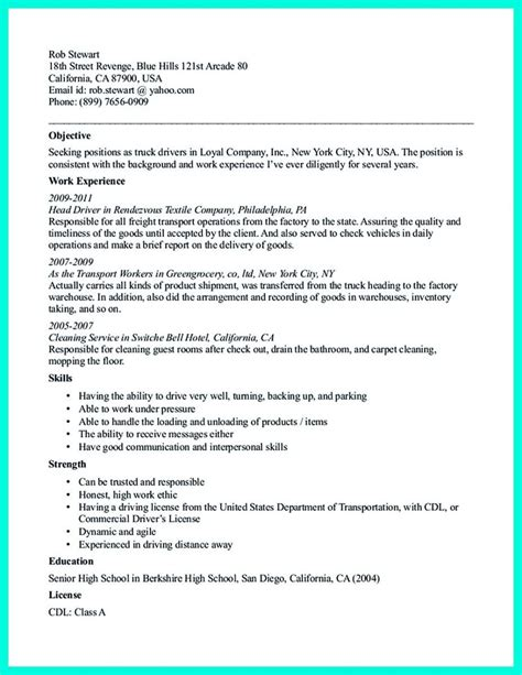Summary Of Qualifications For Truck Driver by Pin On Resume Template Sle Resume Resume Exles