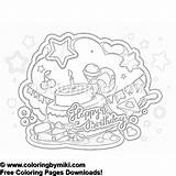 Birthday Coloring Happy 1088 Sweets Cake 塗り絵 誕生日 無料 Miki sketch template