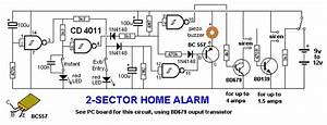 home alarm 2 sector electronics maker With wailing alarm siren