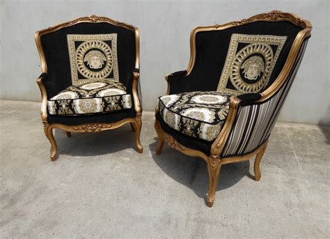 Black & Gold Medusa Chairs With Versace Influence