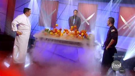 karine cuisine tv marc forgione vs r j cooper in iron chef battle bell
