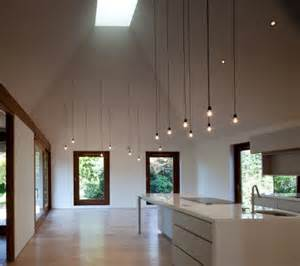 cathedral ceiling kitchen lighting ideas cords lighting simple design but with a big impact