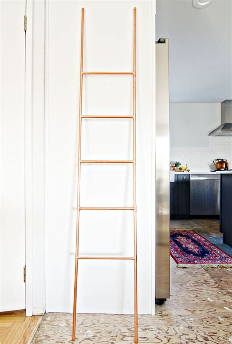 diy copper pipe ladder  vintage rug shop  vintage