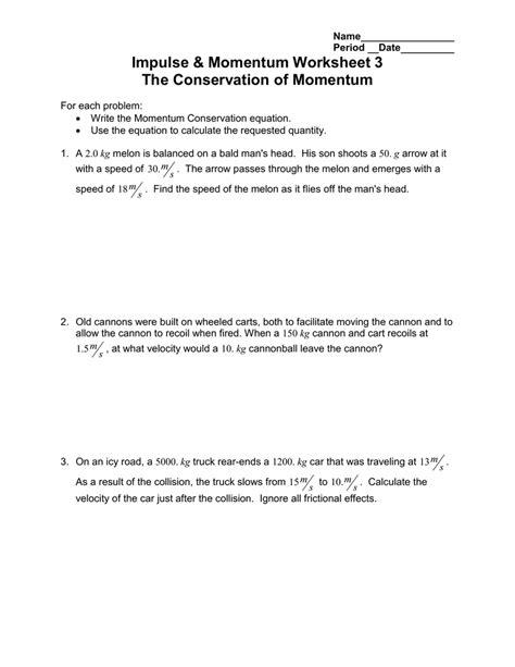 calculating momentum worksheet resultinfos