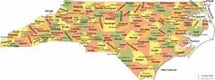 North Carolina City, County, Area Code, Zip Code Maps ...