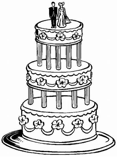 Coloring Kleurplaat Bruiloft Bruidstaart Pages Kleurplaten Marry