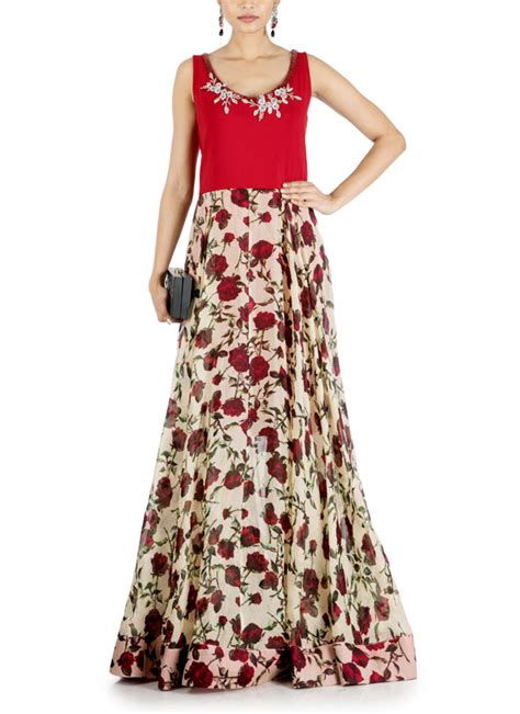 anushree agarwal floral printed flared gown shop gowns